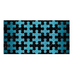 Puzzle1 Black Marble & Teal Brushed Metal Satin Shawl by trendistuff