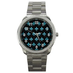 Royal1 Black Marble & Teal Brushed Metal Sport Metal Watch by trendistuff