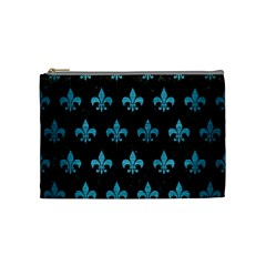 Royal1 Black Marble & Teal Brushed Metal Cosmetic Bag (medium)  by trendistuff