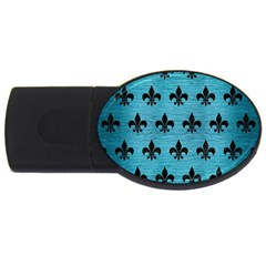 Royal1 Black Marble & Teal Brushed Metal (r) Usb Flash Drive Oval (2 Gb) by trendistuff