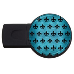 Royal1 Black Marble & Teal Brushed Metal (r) Usb Flash Drive Round (4 Gb) by trendistuff