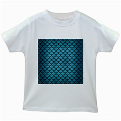 Scales1 Black Marble & Teal Brushed Metal Kids White T Shirts