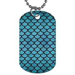 Scales1 Black Marble & Teal Brushed Metal Dog Tag (one Side) by trendistuff