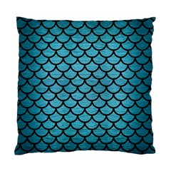 Scales1 Black Marble & Teal Brushed Metal Standard Cushion Case (one Side) by trendistuff