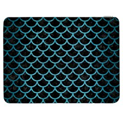 Scales1 Black Marble & Teal Brushed Metal (r) Samsung Galaxy Tab 7  P1000 Flip Case by trendistuff