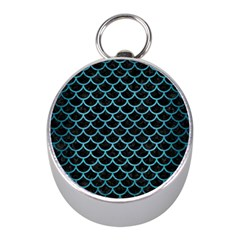Scales1 Black Marble & Teal Brushed Metal (r) Mini Silver Compasses by trendistuff