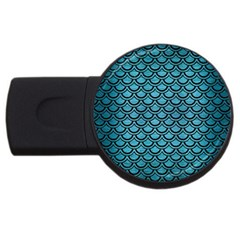 Scales2 Black Marble & Teal Brushed Metal Usb Flash Drive Round (2 Gb) by trendistuff