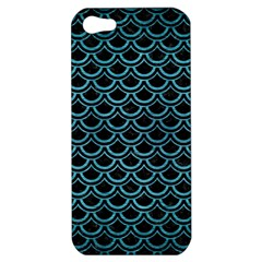 Scales2 Black Marble & Teal Brushed Metal (r) Apple Iphone 5 Hardshell Case by trendistuff