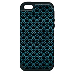 Scales2 Black Marble & Teal Brushed Metal (r) Apple Iphone 5 Hardshell Case (pc+silicone) by trendistuff