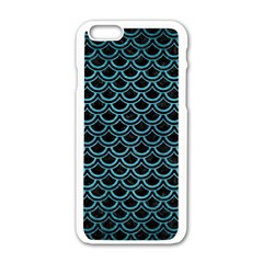 Scales2 Black Marble & Teal Brushed Metal (r) Apple Iphone 6/6s White Enamel Case by trendistuff