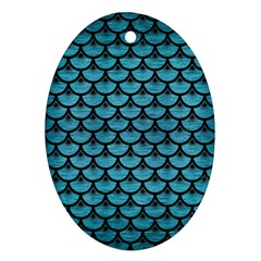 Scales3 Black Marble & Teal Brushed Metal Ornament (oval) by trendistuff