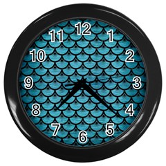 Scales3 Black Marble & Teal Brushed Metal Wall Clocks (black) by trendistuff