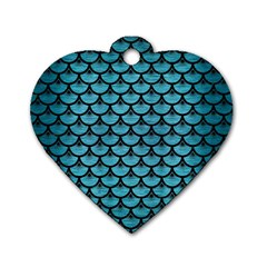 Scales3 Black Marble & Teal Brushed Metal Dog Tag Heart (one Side) by trendistuff