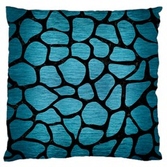 Skin1 Black Marble & Teal Brushed Metal (r) Standard Flano Cushion Case (one Side) by trendistuff