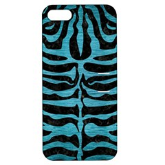 Skin2 Black Marble & Teal Brushed Metal (r) Apple Iphone 5 Hardshell Case With Stand by trendistuff
