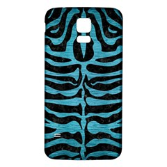 Skin2 Black Marble & Teal Brushed Metal (r) Samsung Galaxy S5 Back Case (white) by trendistuff