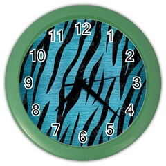 Skin3 Black Marble & Teal Brushed Metal Color Wall Clocks by trendistuff