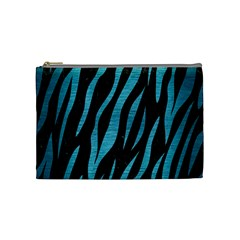 Skin3 Black Marble & Teal Brushed Metal (r) Cosmetic Bag (medium)  by trendistuff