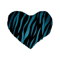 Skin3 Black Marble & Teal Brushed Metal (r) Standard 16  Premium Flano Heart Shape Cushions by trendistuff
