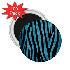 Skin4 Black Marble & Teal Brushed Metal 2 25  Magnets (100 Pack)  by trendistuff