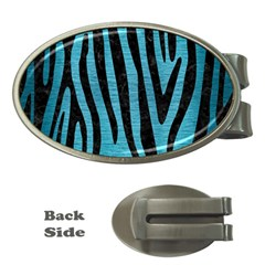 Skin4 Black Marble & Teal Brushed Metal (r) Money Clips (oval)  by trendistuff