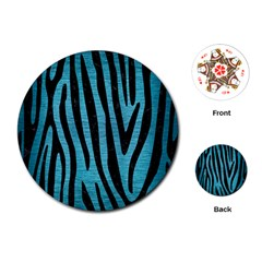Skin4 Black Marble & Teal Brushed Metal (r) Playing Cards (round)  by trendistuff