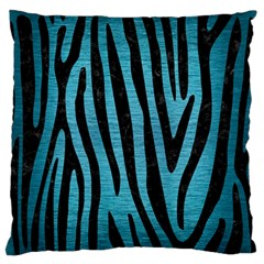 Skin4 Black Marble & Teal Brushed Metal (r) Large Flano Cushion Case (one Side) by trendistuff