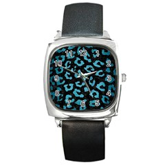 Skin5 Black Marble & Teal Brushed Metal Square Metal Watch by trendistuff
