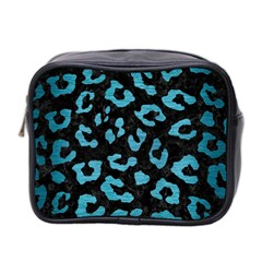 Skin5 Black Marble & Teal Brushed Metal Mini Toiletries Bag 2 Side by trendistuff