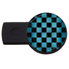 Square1 Black Marble & Teal Brushed Metal Usb Flash Drive Round (4 Gb) by trendistuff
