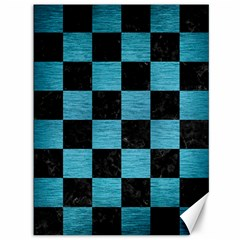Square1 Black Marble & Teal Brushed Metal Canvas 36  X 48   by trendistuff