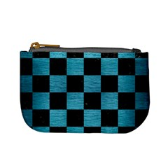 Square1 Black Marble & Teal Brushed Metal Mini Coin Purses by trendistuff