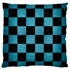 Square1 Black Marble & Teal Brushed Metal Large Cushion Case (two Sides) by trendistuff
