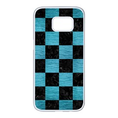 Square1 Black Marble & Teal Brushed Metal Samsung Galaxy S7 Edge White Seamless Case