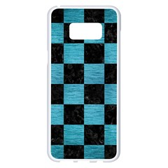 Square1 Black Marble & Teal Brushed Metal Samsung Galaxy S8 Plus White Seamless Case by trendistuff