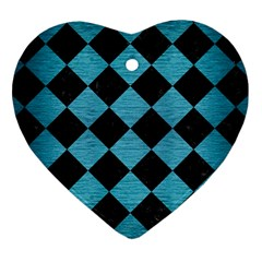 Square2 Black Marble & Teal Brushed Metal Heart Ornament (two Sides) by trendistuff