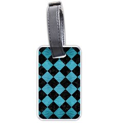 Square2 Black Marble & Teal Brushed Metal Luggage Tags (one Side)  by trendistuff