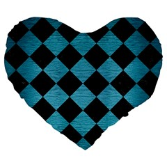 Square2 Black Marble & Teal Brushed Metal Large 19  Premium Flano Heart Shape Cushions by trendistuff