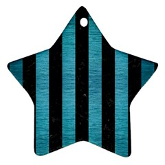 Stripes1 Black Marble & Teal Brushed Metal Star Ornament (two Sides) by trendistuff