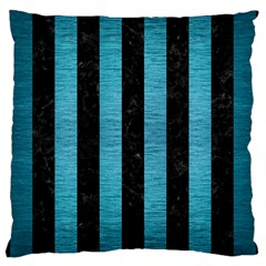 Stripes1 Black Marble & Teal Brushed Metal Large Cushion Case (two Sides) by trendistuff