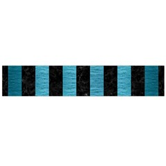 Stripes1 Black Marble & Teal Brushed Metal Large Flano Scarf