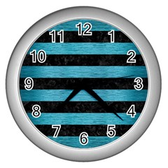 Stripes2 Black Marble & Teal Brushed Metal Wall Clocks (silver)  by trendistuff