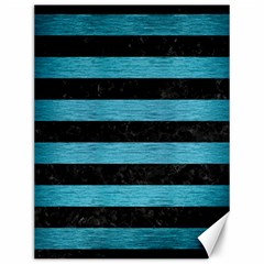 Stripes2 Black Marble & Teal Brushed Metal Canvas 12  X 16