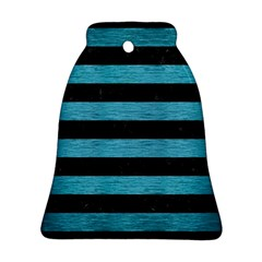 Stripes2 Black Marble & Teal Brushed Metal Ornament (bell) by trendistuff
