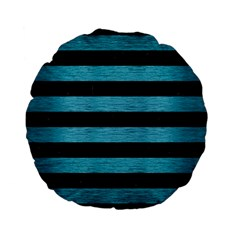 Stripes2 Black Marble & Teal Brushed Metal Standard 15  Premium Flano Round Cushions by trendistuff