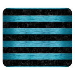Stripes2 Black Marble & Teal Brushed Metal Double Sided Flano Blanket (small)  by trendistuff