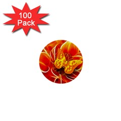 Arrangement Butterfly Aesthetics Orange Background 1  Mini Buttons (100 Pack)  by Celenk