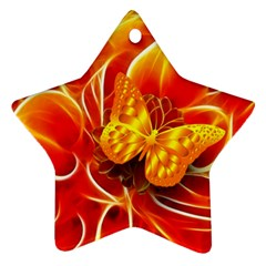 Arrangement Butterfly Aesthetics Orange Background Star Ornament (two Sides) by Celenk