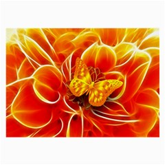 Arrangement Butterfly Aesthetics Orange Background Large Glasses Cloth by Celenk