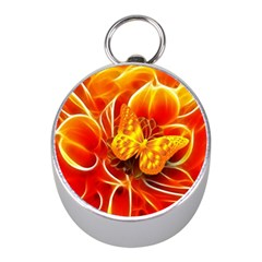 Arrangement Butterfly Aesthetics Orange Background Mini Silver Compasses by Celenk